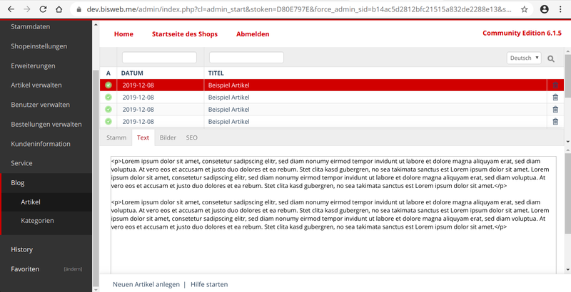 Blog Modul Admin Artikel Text Tab